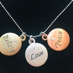 NEW Tri-color Believe Love Peace necklace in box